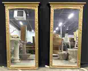 Pair Gold Toned Frame Wall Mirrors