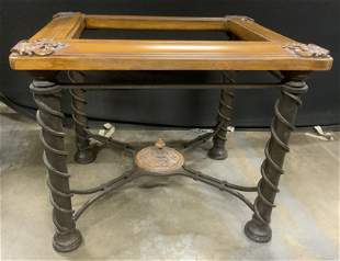 Glass Topped Wood & Wrought Iron Side Table