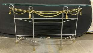 Glass Topped Demilune Table w Metal Frame