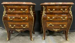 Pair Marble Topped Bombay Style Nightstands