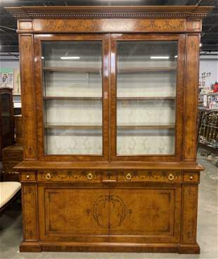 Inlaid Victorian Wooden Marquetry Display Cabinet