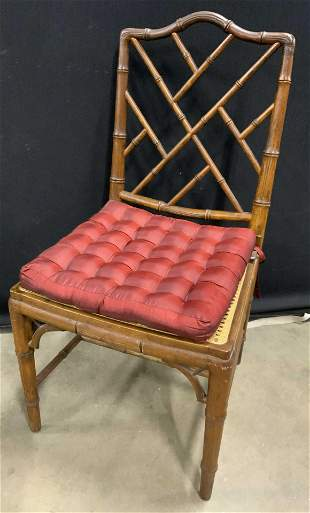 Vintage Wooden Cane Seated Side Chair