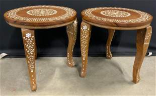 Pair Wooden End Table w/ Bone Inlay, India
