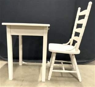 Lot 2 Vintage Metal Top Desk W Wood Chair