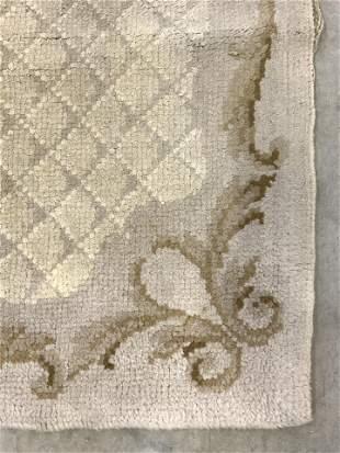 Vintage Handmade Portuguese Wool Pile Rug
