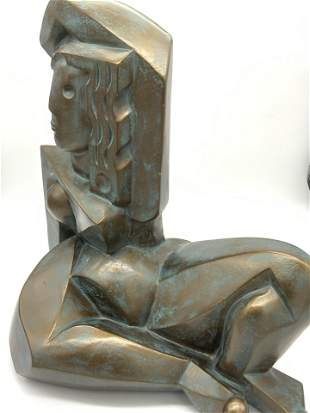 Art Deco Cubist Nude Female Form Metal Sculpture