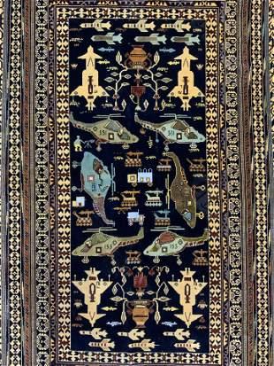 Vintage Handmade Fringed Pakistani Rug