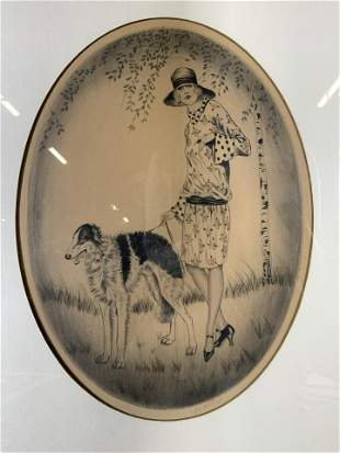 Signed Etching of Woman Walking Dog