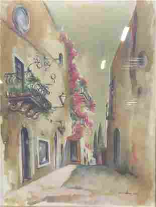 Signed Offset Lithograph of European Alleyway 1990