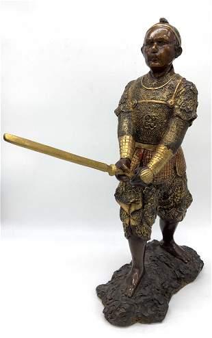Antique Gilt Bronze Japanese Warrior Sculpture