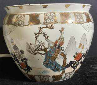 Chinese Porcelain Floor Planter w Peacocks