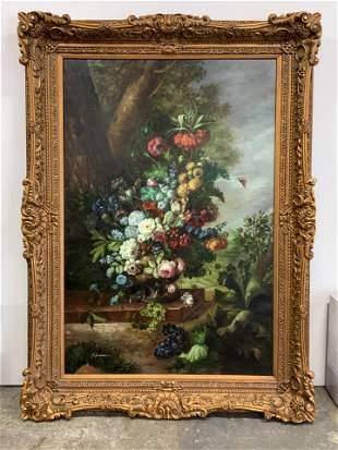 SHERMAN Signed Oversized Floral Still Life