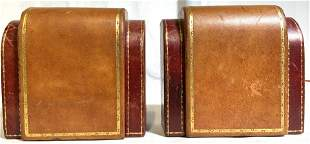 Pair Leather Bookends W Gold Toned Accent Detail