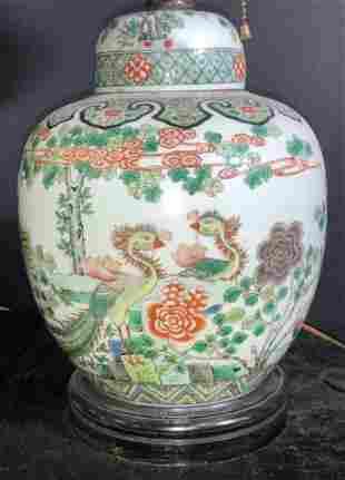 Antique Asian Porcelain 3 Bulb Pull Chain Lamp