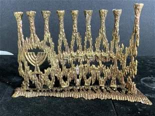 Collectible Menorah, Gilt Bronze Brutalist, Israel