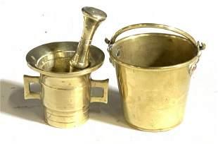 Brass Collectibles, 19th C Mortar Pestle + Pail, 3