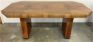 Art Deco Tigerwood Dining Table W Wide Apron