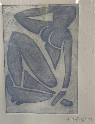 Attributed to HENRI MATISSE Blue Figure Lithograph