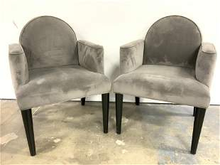 Pair Art Deco Upholstered End Chair Armchairs