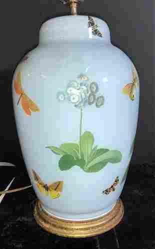 Butterfly & Flower Decoupage Art Glass Lamp