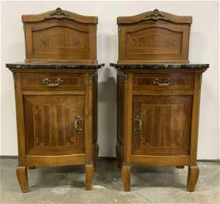 Pair Antique End Tables w Marble Tops