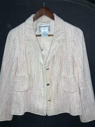 Classic CHANEL Pink Silk/ Cotton Vintage Blazer