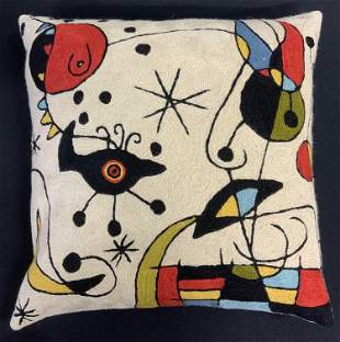 Chainstitch Wool Throw Pillow After JOAN MIRÓ