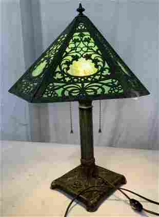 Cast Iron Miller Co Slide Glass Arts & Crafts Lamp