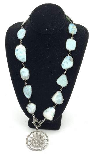 Larimar & Suburst Diamond Encrusted Necklace