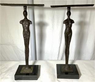 Pair GIACOMETTI Style Bronze Figural End Tables