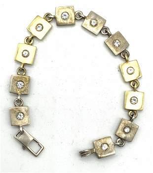 18 K Gold & Sterling Bracelet With Topaz Stones