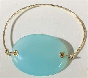 Arts and Crafts Gold Bracelet with Glass medallion