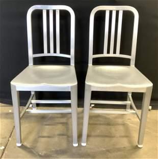 EMECO Pair Brushed Metal Industrial Modern Chairs