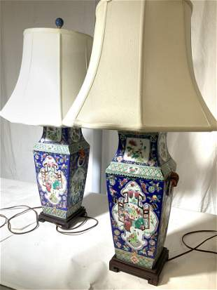 Pair Asian Porcelain Lamps on Asian Wood Stands