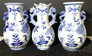 Set 3 FORMALITIES Blue White Ceramic Asian Vases