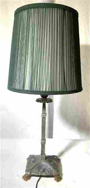 Egyptian Style Lightweight Metal Lamp w Shade