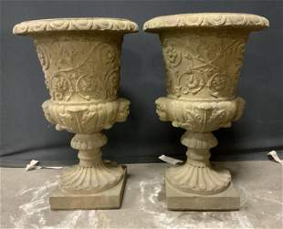 Pair Outdoor Stone Urns 24 in H