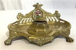 Vintage Victorian Brass Inkwell W Porcelain Plaque