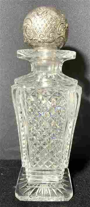 Sterling Silver Stopper Hand Cut Crystal Decanter