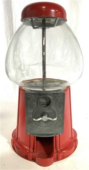 Vintage Glass & Metal Gum Ball Machine