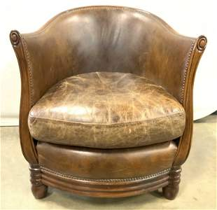 Antique Low Leather Barrel Back Club Chair