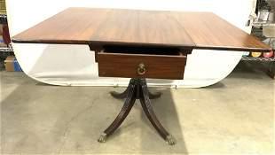 Antique Drop Leaf Wooden Pedestal Table
