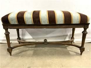 Vintage Custom Upholstered Wooden Bench