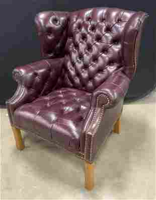 Vintage Leather Tufted Wingback Armchair