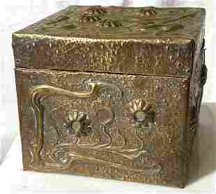 Antique Handmade Wood Box,  Repousse Metal Overlay