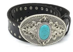 Lauren HAMPTON Turquoise Stud Leather Belt