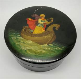Signed Russian Lacquered Pictorial Wooden Box