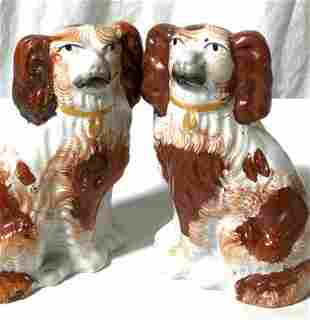 Pair King Charles STAFFORDSHIRE Porcelain Dogs