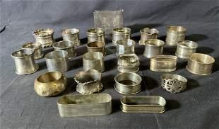 Lot 24 Sterling Silver Napkin Rings, GORHAM & More