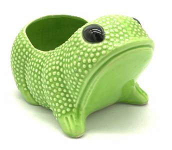Glazed Ceramic Frog Form Cachepot